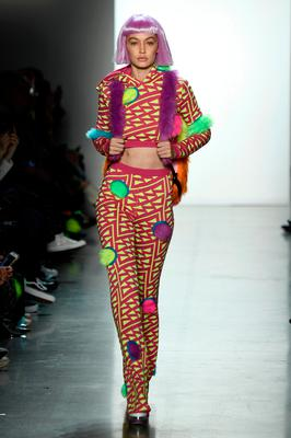 Gigi Hadid walks the runway for Jeremy Scott during New York Fashion Week: The Shows at Gallery I at Spring Studios on February 8, 2018 in New York City.  (Photo by Frazer Harrison/Getty Images for New York Fashion Week: The Shows)