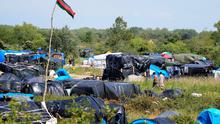 Migrants camp in  in Calais, France, as the migrant crisis across Europe continues to escalate.