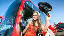 Model Roz Purcell at the launch of a fleet of 20 luxury Expressway coaches at a cost of €9.2m in 2015. Photo: Naoise Culhane