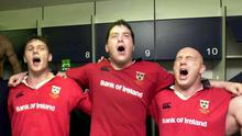 David Wallace, Anthony Foley and Keith Wood celebrate Munster's victory over Toulouse in the 2000 Heineken Cup semi-final in Bordeaux. Photo by Matt Browne/Sportsfile