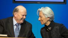 Minister for Finance Michael Noonan TD and IMF Managing Director Christine Lagarde speaking to media during a press briefing at Government Buildings, Dublin. Photo: Gareth Chaney Collins