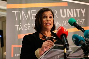 "Handout photo issued by Sinn Fein of Sinn Fein President Mary Lou McDonald, who has blasted ""arrogant"" political rivals for denying her party a place in the next Irish Government, as she addressed a party meeting in Belfast on Saturday. PA Photo. Picture date: Saturday February 15, 2020. See PA story IRISH Election. Photo credit should read: Sinn Fein/PA Wire  NOTE TO EDITORS: This handout photo may only be used in for editorial reporting purposes for the contemporaneous illustration of events, things or the people in the image or facts mentioned in the caption. Reuse of the picture may require further permission from the copyright holder."