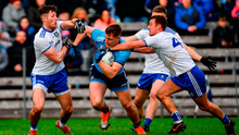 Putting the squeeze on: John Small of Dublin is tackled by the Monaghan trio of Dessie Ward, left, Conor McCarthy and Ryan Wylie. Photo by Ramsey Cardy/Sportsfile