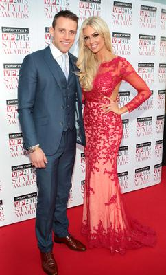Wes Quirke and Rosanna Davison on the Red Carpet at The Peter Mark VIP Style Awards 2015 at The Marker Hotel,Dublin. Pictures Brian McEvoy