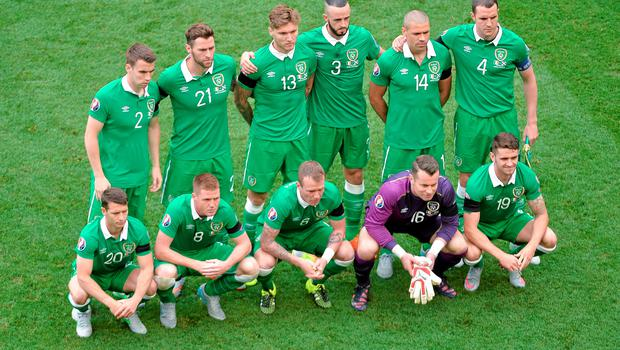 13 June 2015; Republic of Ireland team stand for a team picture ahead of the game. UEFA EURO 2016 Championship Qualifier, Group D, Republic of Ireland v Scotland, Aviva Stadium, Lansdowne Road, Dublin.