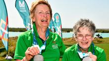 Team Ireland's Mairead Moroney (right) and Jean Molony after they collected their silver medals. Photo: Ray McManus/Sportsfile