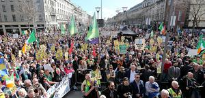 Anti-water charge protestors pictured on O'Connell street