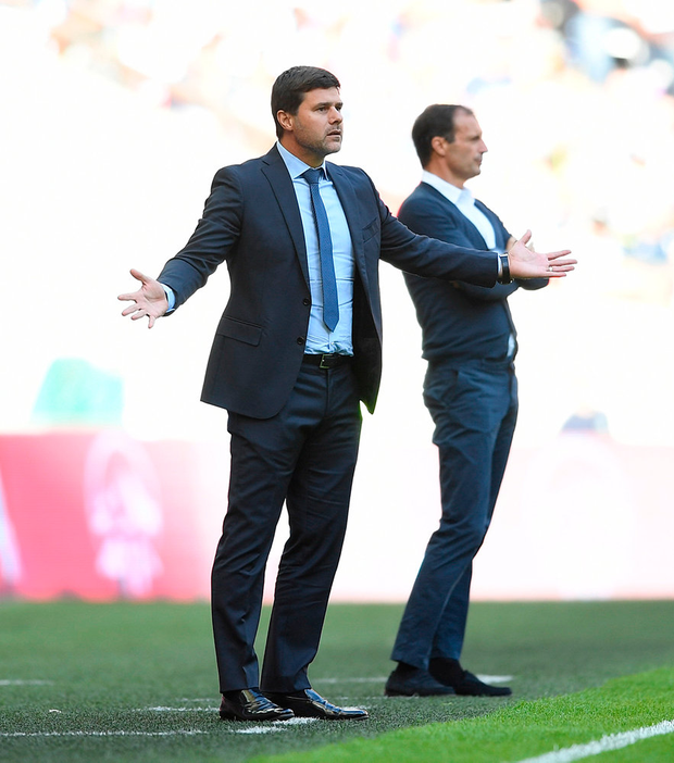 Mauricio Pochettino looks on from the touchline at Wembley during Tottenham's pre-season victory against Juventus at Wembley Photo: Getty