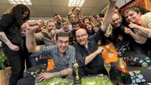 Tom Moore and Paul Young (on couch) of Cartoon Saloon in Kilkenny pictured with the crew after being nominated yesterday for an Oscar. Picture: Dylan Vaughan.