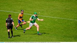 24 May 2015; Shane Dowling, Limerick, in action against Shane Golden, Clare. Munster GAA Hurling Senior Championship Quarter-Final, Clare v Limerick. Semple Stadium, Thurles, Co. Tipperary. Picture credit: D?ire Brennan / SPORTSFILE