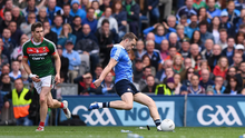 ROCK ON: Dublin's Dean Rock slots a late free in the 2017 All-Ireland final to steer his side to victory over Mayo