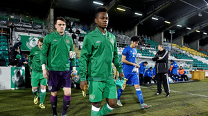 25 February 2015; Republic of Ireland U19 captain Noe Baba leads his team onto the pitch. U19 International Friendly, Republic of Ireland v Azerbaijan, Tallaght Stadium, Tallaght, Co. Dublin. Picture credit: David Maher / SPORTSFILE