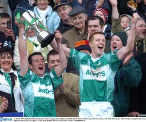 Ballyhale Shamrocks players Tom Coogan, left, and Henry Shefflin lift the Tommy Moore Cup after the AIB All-Ireland Senior Club Hurling Championship Final in 2007. Picture credit: Brian Lawless / SPORTSFILE