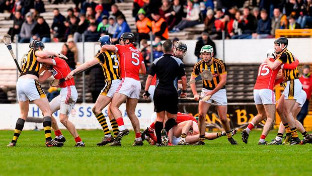 Things get hot and heavy between Cork and Kilkenny during yesterday's Division 1A clash in Nowlan Park. Photo: Ray McManus/Sportsfile