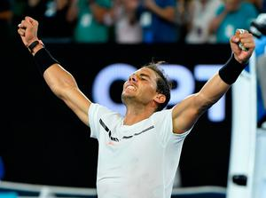Spain's Rafael Nadal celebrates after defeating France's Gael Monfils. Image: AP Photo/Andy Brownbill