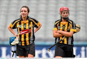 14 September 2014; Kilkenny's Claire Phelan, left, and Aisling Dunphy dejected after the game. Liberty Insurance All Ireland Senior Camogie Championship Final, Kilkenny v Cork, Croke Park, Dublin. Picture credit: Ramsey Cardy / SPORTSFILE
