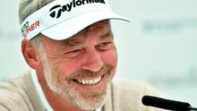 26 May 2015; Darren Clarke during a press conference. Dubai Duty Free Irish Open Golf Championship 2015, Practice Day 2. Royal County Down Golf Club, Co. Down. Picture credit: Ramsey Cardy / SPORTSFILE
