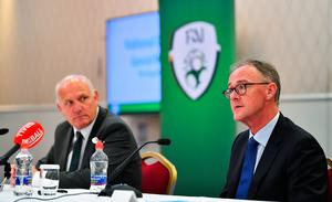 FAI President Gerry McAnaney, left, and FAI Independent Chairperson Roy Barrett. Photo: Brendan Moran/Sportsfile