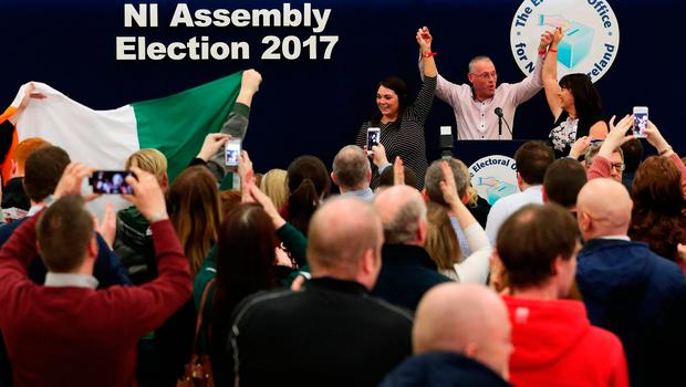 Sinn Fein candidates for Fermanage South Tyrone Jemma Dolan (left), Sean Lynch and Michelle Gildernew at the Omagh count centre having been deemed elected in Northern Ireland's Assembly election. Brian Lawless/PA Wire