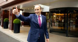 Fianna Fail leader and Taoiseach in waiting Micheal Martiin at the Clayton Burlington Hotel where the party voted in favour of government. Picture; Gerry Mooney