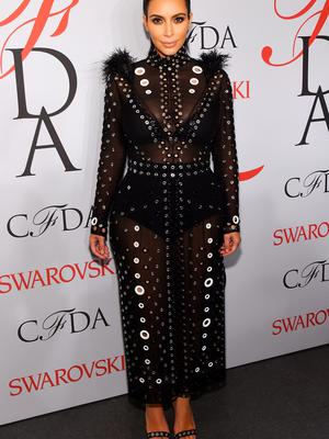 June 1, 2015: She wore a sheer, feather and armour style ensemble by Proenza Schoeler at the CFDA Awards
