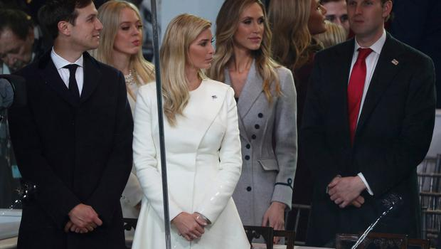 (L-R) Jared Kushner, Ivanka Trump, Lara Trump and Eric Trump watch the Inaugural Parade from the main reviewing stand in front of the White House on January 20, 2017 in Washington, DC. Donald J. Trump was sworn in today as the 45th president of the United States.  (Photo by Patrick Smith/Getty Images)