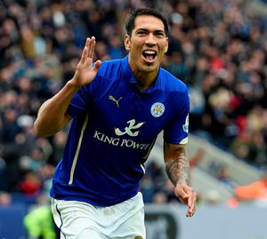 Leicester City's Leonardo Ulloa celebrates after he scores from the penalty spot against Newcastle on Saturday