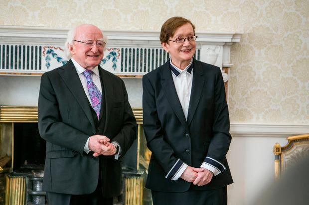 Maire Whelan pictured at her Appointment as a Judge in Aras an Uachtarain this morning (Photo: Kyran O'Brien)