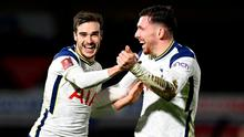 Tottenham's Harry Winks celebrates after scoring his side's second goal with team mate Pierre-Emile Højbjerg. Photo: Getty Images
