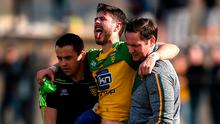 Ryan McHugh is carried off during the Allianz Football League Division 1 Round 6 match between Donegal and Monaghan at Fr. Tierney Park in Ballyshannon, Co. Donegal. Photo: Philip Fitzpatrick/Sportsfile