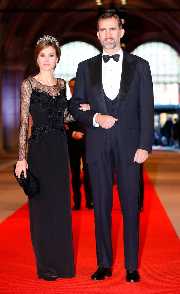 Princess Letizia of Spain and Prince Felipe of Spain attend a dinner hosted by Queen Beatrix of The Netherlands ahead of her abdication in favour of Crown Prince Willem Alexander at Rijksmuseum on April 29, 2013 in Amsterdam, Netherlands. (Photo by Michel Porro/Getty Images)