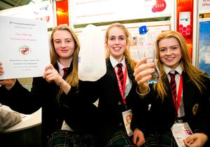 Sadhbh NiDhubshlaine, Emer Butler Litster and Sarah Lalor from Avondale Community College Wicklow and their project 'Can milk be turned into plastic?' Photo Karl Hussey / Fennell Photography