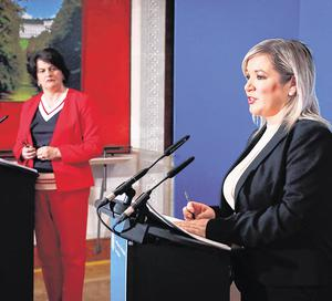 Sinn Féin's Michelle O'Neill and the DUP's Arlene Foster are working together against the Covid-19 pandemic. Photo: Kelvin Boyes/PA