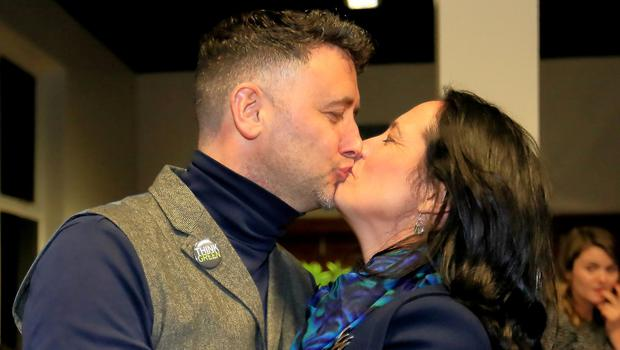 Greens Dept Leader Catherine Martin celebrates with her husband Francis Duffy after she topped the poll in Dublin Rathdown. Photo: Frank McGrath