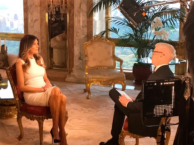 Melania Trump sits down with CNN television host Anderson Cooper during an exclusive interview in New York. Photo: Reuters