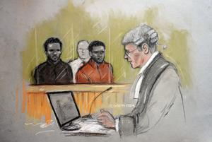 Court artist sketch by Elizabeth Cook of the two men accused of the murder of Fusilier Lee Rigby, Michael Adebolajo (left) and Michael Adebowale (right) during their trial at the Old Bailey in central London. Elizabeth Cook/PA Wire