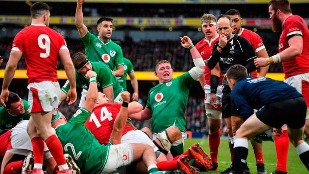 8 February 2020; Ireland players, including Tadhg Furlong and Conor Murray, celebrate their side's third try during the Guinness Six Nations Rugby Championship match between Ireland and Wales at Aviva Stadium in Dublin. Photo by Brendan Moran/Sportsfile