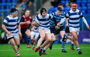 Alex Mullan of Blackrock College makes a break during the Bank of Ireland Leinster Schools Junior Cup semi-final win over Castleknock College at Energia Park in Donnybrook, Dublin. Photo: Ramsey Cardy/Sportsfile