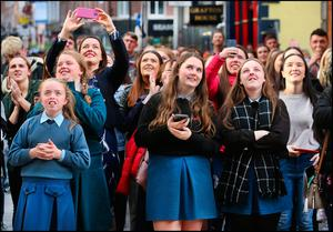 Fans listen to Picture This performing on the balcony of The Westbury Hotel off Grafton Street as they announce their new tour and album. Pic Steve Humphreys 17th October 2018