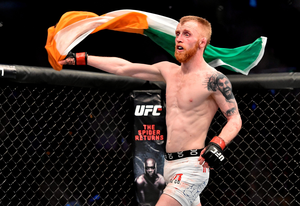 18 January 2015; Paddy Holohan celebrates his unanimous decision victory over Shane Howell following their flyweight bout. UFC Fight Night, Paddy Holohan v Shane Howell, TD Garden, Boston, Massachusetts, USA. Picture credit: Ramsey Cardy / SPORTSFILE