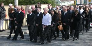 Family and friends at the funeral of Anne Shortall at St Josephs Church in Rathnew. Picture credit; Damien Eagers