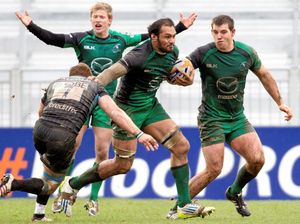 George Naoupu, Connacht, is tackled by Tyrone Holmes, Glasgow Warriors