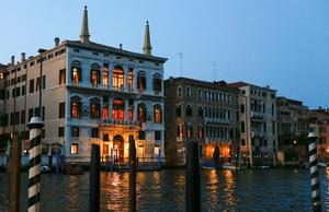 The entrance of the 7-star Aman hotel (L) on Venice's Grand Canal, where it is rumoured U.S. Hollywood star George Clooney will celebrate his wedding with his fiancee Amal Alamuddin