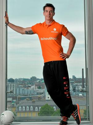 Dublin midfielder Michael Darragh Macauley – here attending the launch of the GAA hub, www.eircom.ie/gaa – is expecting a difficult challenge from Kildare on Sunday in Croke Park