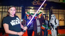 Elizabeth Bailey (left) with Helen Edgar, Kerry and Mohammed Alghamdi, Dublin and characters from Star Wars at the Disney Store on Grafton street for the launch of the new Star Wars Merchandise from the upcoming movie The Force Awakens. Picture:Arthur Carron