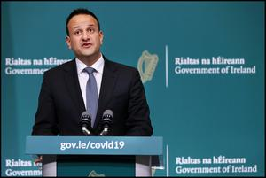 Taoiseach Leo Varadkar adressing media at a Government Covid-19 Press Briefing at Government Buildings. Pic Steve Humphreys