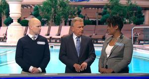 Jonny (L) after losing all his money on Wheel of Fortune