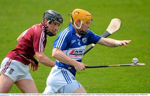 24 May 2015; Barina Stapleton, Laois, in action against Eoin Price, Westmeath. Leinster GAA Hurling Senior Championship Qualifier Group, Round 3, Laois v Westmeath. O'Moore Park, Portlaoise, Co. Laois. Picture credit: Brendan Moran / SPORTSFILE