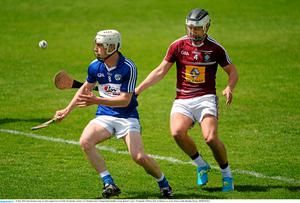 24 May 2015; Zane Keenan, Laois, in action against Gary Greville, Westmeath. Leinster GAA Hurling Senior Championship Qualifier Group, Round 3, Laois v Westmeath. O'Moore Park, Portlaoise, Co. Laois. Picture credit: Brendan Moran / SPORTSFILE