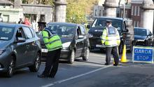 27/4/2020 Gardai performing a checkpoint at the entrance to Phoenix Park in Dublin yesterday(Mon). Pic: Collins